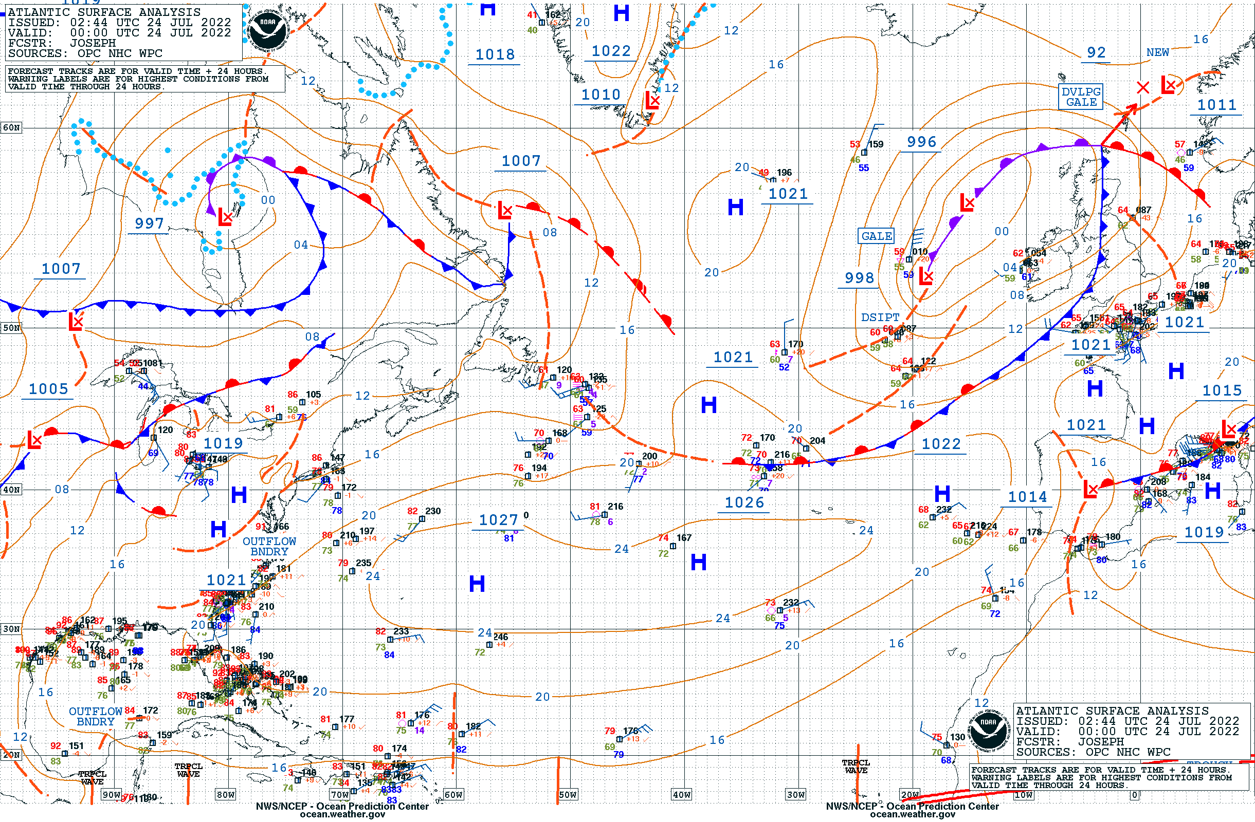 North Atlantic Surface Analysis
