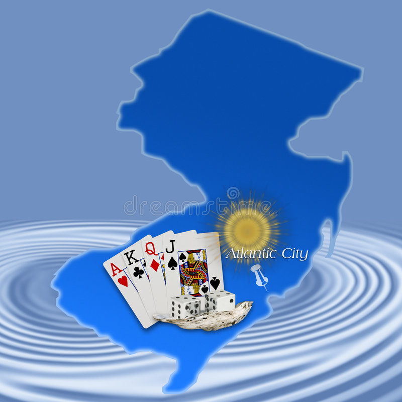 Atlantic City,New Jersey(Map). Atlantic City Map with cards,dice,seashell and sun depicting Atlantic City on blue background with ripples stock illustration