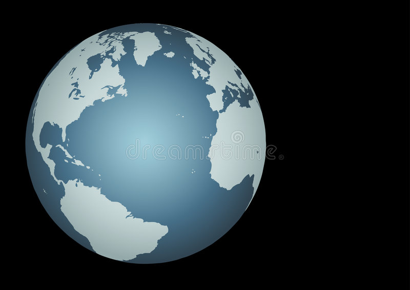 Atlantic - Transatlantic. Atlantic Ocean(Vector). Accurate map of the North Atlantic. Mapped onto a globe. Includes many small islands, lakes, etc royalty free illustration