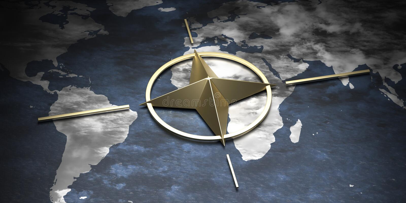 NATO North Atlantic Alliance sign symbol on earth globe map background. 3d illustration. North Atlantic treaty organization, NATO gold metal sign symbol on earth stock illustration