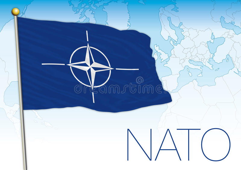 NATO, North Atlantic Treaty Organization flag and atlantic map. Vector file, illustration royalty free illustration
