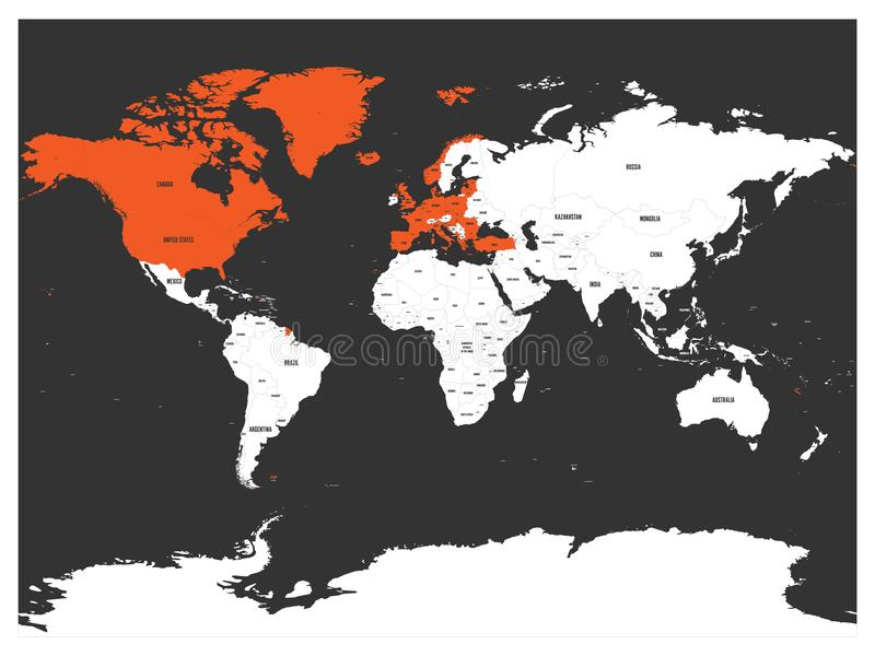 North Atlantic Treaty Organization, NATO, member countries highlighted by orange in world political map. 29 member. States since June 2017 stock illustration