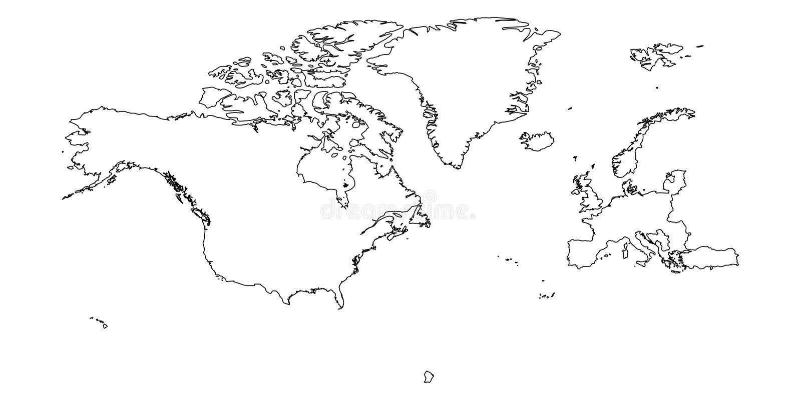 North Atlantic Treaty Organization, NATO, member countries silhouette map.  royalty free illustration