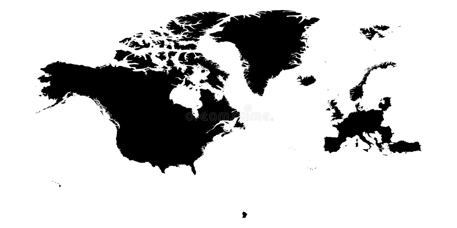 North Atlantic Treaty Organization, NATO, member countries silhouette map.  stock illustration