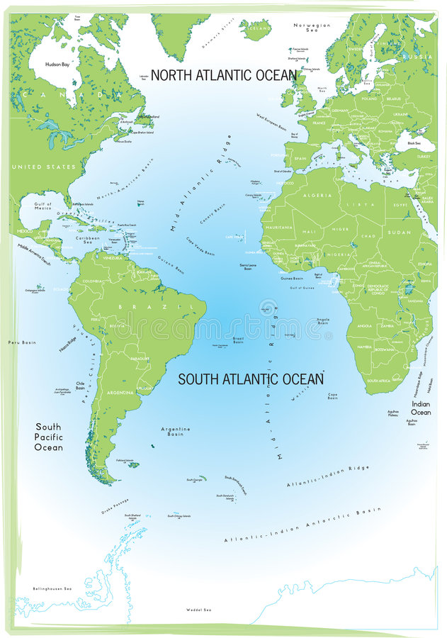 Ocean Atlantic map. Ocean Atlantic map green and blue vector illustration