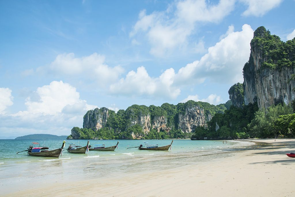 Railay Beach in Thailand has beautiful sand, aqua waters and natural beauty